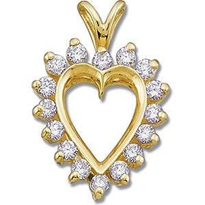 IceCarats Designer Jewelry 14K Yellow Gold 1/2 Ctw Diamond Heart Pendant