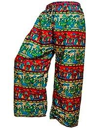 Rajsthani Mandala Hand Block Print Peacock Alibaba Afghani Trouser - B06XYSQM4N