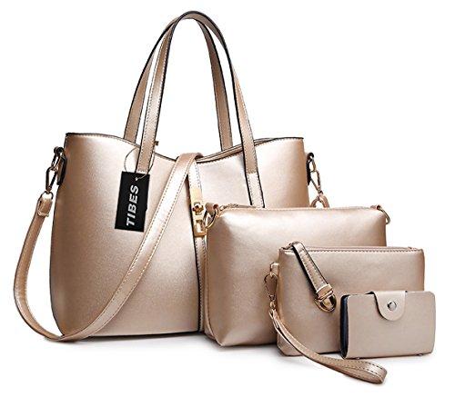 Tibes PU cuir sac a main + epaule de sac de femmes de la mode + porte-monnaie + carte 4pcs mis d'or