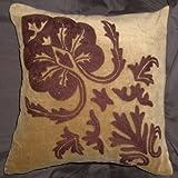 Crewel Pillow Konark Bronze On Brown Cotton Velvet (16X16)