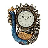 Home And Bazaar Traditional Rajasthani Golden Peacock Shaped Wooden Wall Clock