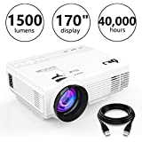 DR.J Portable LED Projector 1500 Lumens LCD Screen 1080P Supported - Multimedia Home Projector Full HD For Video Games, Movies, Available For IPad, IPhone, Smartphones, Laptops (HDMI Cable Included)