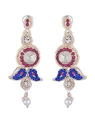 Bel-en-teno Pink & Blue Alloy Earring Set For Women