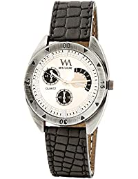 WATCH ME Black Leather White Dial Watch For Men Black Leather White Dial Watch For Men Watch MeAL-185