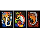 TiedRibbons Ganesha Paintings With Frame For Living Room Paintings Set Of 3 (13.6 Inch X 10.2 Inch)