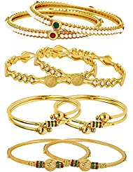Jewels Galaxy Combo Of Designer Victoria Bangles, Pearls Bangles And Gold Plated Bangles - Pack Of 8