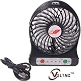 VOLTAC` ™ 3 Speeds Electric Portable Mini Fan Rechargeable Desktop Fan Battery And USB Charge Cable - B07227FNZN