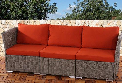 3er Sofa 3-Sitzer Siena Poly-Rattan, Gastronomie-Qualität ~ grau mit Kissen in bordeaux
