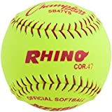 """Champion Sport Slow Pitch Softball With Synthetic Leather Cover, 12"""", 12""""/optic Yellow W/red Seams"""