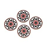 Mudra Coaster Set With Stand - Set Of 4