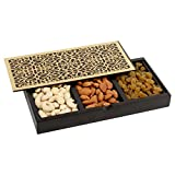 Aaina Small Wooden Box With Dry Fruits, Dark Brown [WC01]