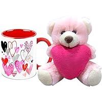 Valentine Gift HomeSoGood Valentine's Day Abstract Art White Ceramic Coffee Mug With Teddy - 325 Ml