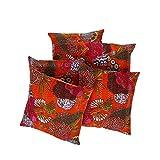Rajrang Sofa Décor Cushions Indian Fruit Printed 16 By 16 Inches Set 5 Pcs