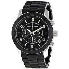Michael Kors Mens MK8107 Oversize Black Silicone Runway Watch