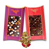 Chocholik Belgium Chocolate Gifts - Nutty And Fiery Combo Of Chocolate Bars With Ganesha Idol - Diwali Gifts