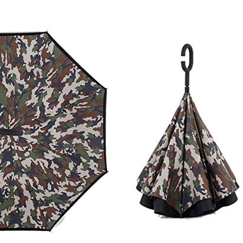 RAIN QUEEN Parapluie Canne Ouverture Inversé Double Toile Imprimé +C Poignée Grand Taille Dimension 105cm pour 2 personnes (Camouflage Vert)