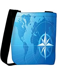 Snoogg Blue Compass Vector Background Womens Carry Around Cross Body Tote Handbag Sling Bags