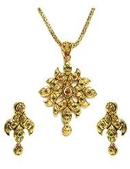 Shining Diva Golden Floral Pendant Set For Women