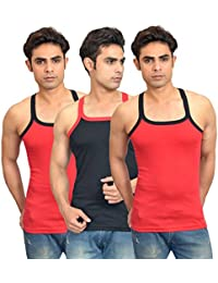Lienz Fit Men's Sports Gym Vest Black And Red Color - Pack Of 3 - B06XJN5RYC