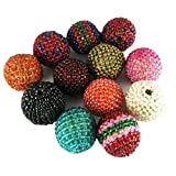Beads Lot / Knitted Round Shape Beads Mixing Set Of 12 Assorted Color Pieces.