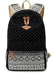 Casual Style Lightweight Canvas Polka Dot Boho Printed School Backpack Laptop Bag - B0123SL4V0