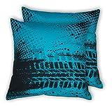 House This Bike-Tyretracks Blue Set Of 2 Cushion Covers- 16 X 16
