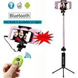 NOSTON Monopod Selfie Stick With 360 Degree Big LED Light Rear Mirror And Tripod Stand
