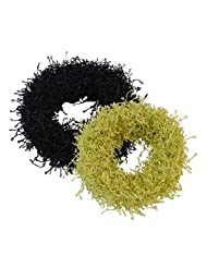 Sarah Black And Green Rubber Band Set For Women