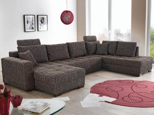 Wohnlandschaft Antigua Strukturstoff braun-grau 357x222x162cm, Bettfunktion Sofa Couch Polsterecke