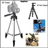 Beginner 50 Tripod 13 Rugged Flexible Tripod Bundle For Olympus SP-590 UZ - Portable Tripod Flexible Legs Camera...