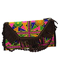 """Arisha Kreation Co Indian Smart Traditional Embroidered Design & With Brown 23"""" Sling Bag(Brown)"""