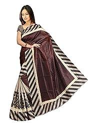 Pick Attire Women's Bhagalpuri Art Silk Saree,With Blouse (PS51-VBK138_Brown)