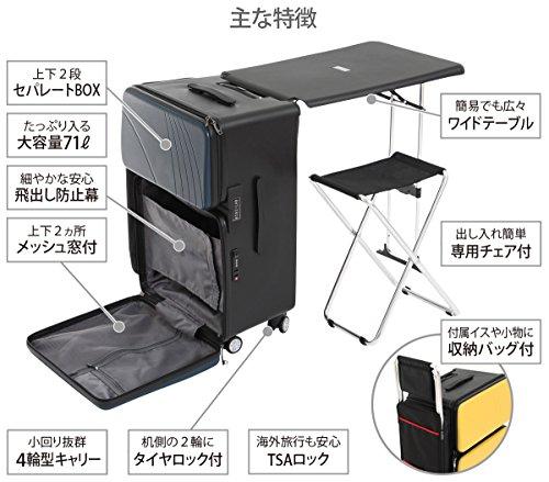 BIBILAB(ビビラボ) ノマドスーツケース 折りたたみデスク内蔵 ネイビー BG2-279