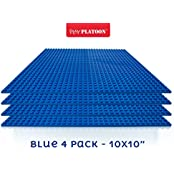 """Building Bricks 10"""" X 10"""" Blue Baseplate (4 Pack) Compatible With Legos And Duplos"""