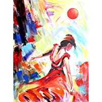 "Happy Woman Hand Painted Canvas Painting Painting(18"" X24"") [UNFRAMED]"