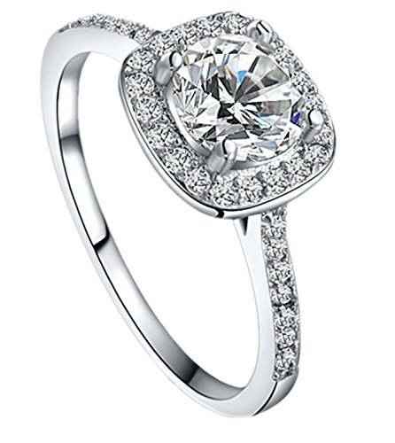 Women's Elegant Inlaid Zircon Cushion Cut Halo