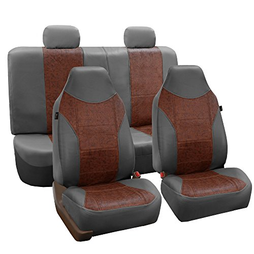 FH-PU160114 PU Classic Leather Seat Covers Brown / Gray, Airbag compatible and Split Bench-Fit Most Car, Truck, Suv, or Van