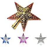 Generic Red : 1pcs New Gold/Sliver/Red/Pink Glitter Star Christmas Tree Topper Star Decoration XMAS Tree Ornament...