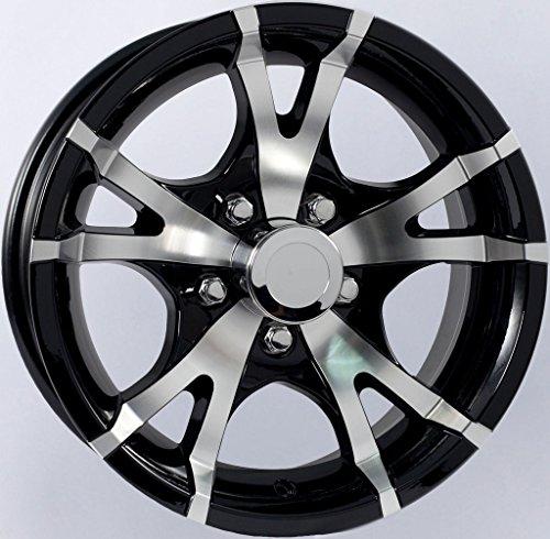 2-Pack Aluminum Trailer Wheel Black Rims 13 x 5 V-Spoke Style (5 Lug On 4.5″)