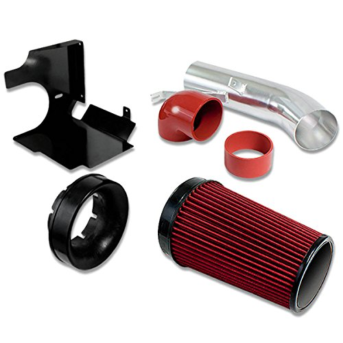 GMT800 V8 Truck/SUV 4″ Aluminum Air Intake System (Red Filter / Silver Pipe / Black Heat Shield)