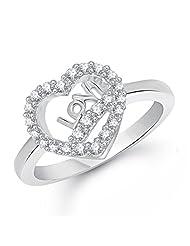 Meenaz American Diamond Valentine Heart For Love Fancy Party Wear In White Ring For Girls & Women FR255