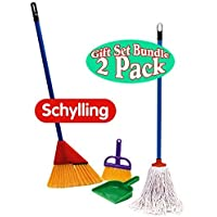 Schylling Little Helper 3 Piece Broom Set & Mop Gift Set Bundle - 2 Pack