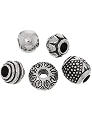 50 Pc Antique Silver Tone Acrylic Spacers Bead Charms, 5mm Hole For European Jewelry