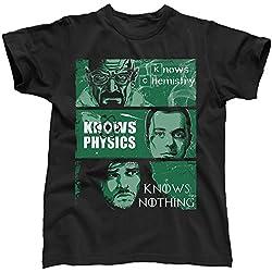 Know física de química capaz de Walter White diseño de Blancanieves y los Sheldon Cooper Jon Breaking Bad Big Bang Theory de Juego de Tronos de juego de, T-camiseta de manga corta para hombre