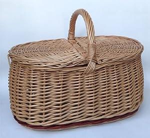 Tigana Picknickkorb mit zwei Deckel Einkaufskorb aus Weide