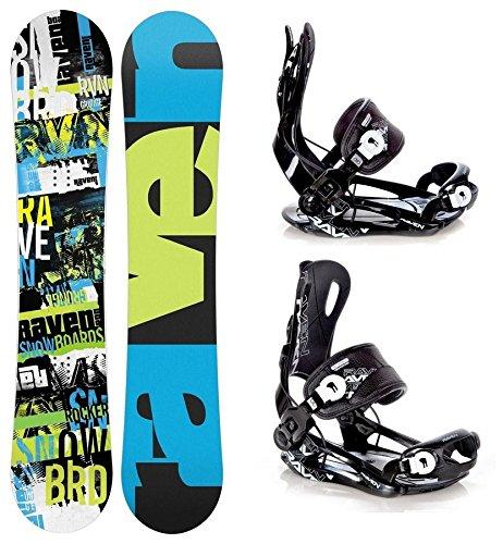 Snowboard Set: Snowboard Raven Grunge Green Carbon + Bindung Raven Fastec FT270 Black L