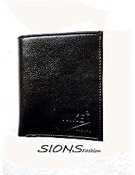 Sions-Men's Leather Wallet-Black - B01I1MGT3U