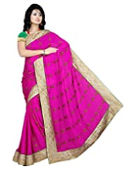 Alethia Pink Chiffon & Jacquard Casual Hand Work Embroidered Sarees With Unstitched Blouse