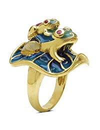 20.70 Grams Red Synthetic Stone & Ruby Gold Plated .925 Sterling Silver Green, Black & Blue Enamel Frog Shape...