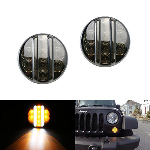 iJDMTOY (2) Smoked Lens Direct Fit LED Daytime Running Lights/Turn Signal Lamps For 2007-2016 Jeep Wrangler